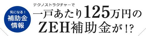 テクノストラクチャーで一戸あたり125万円のZEH補助金が!?